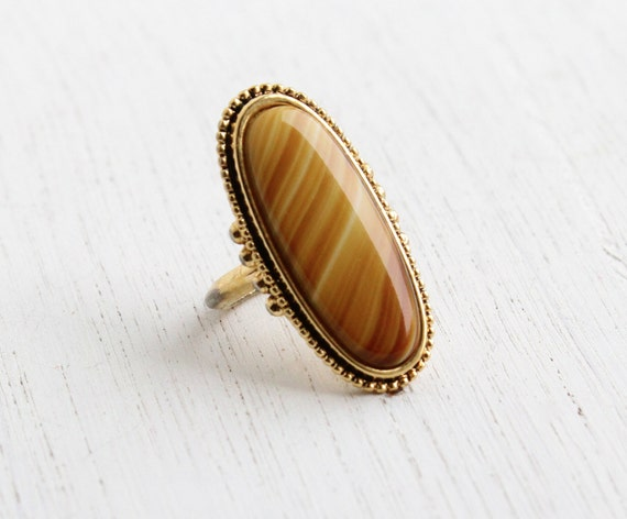 Vintage Brown Stone Ring Signed Avon Statement Gold Tone