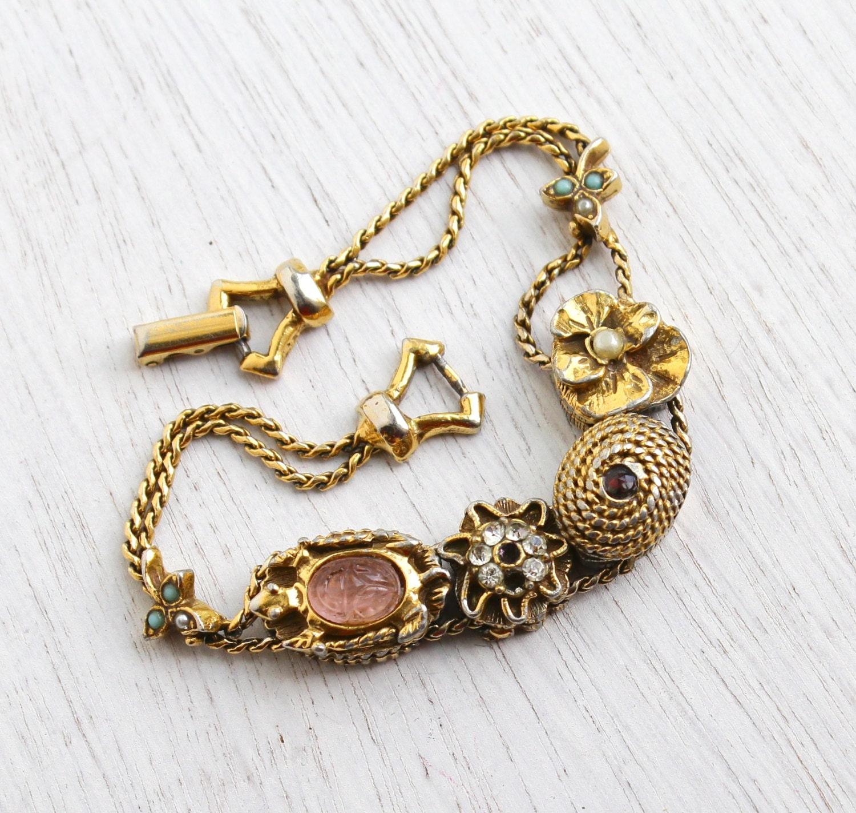 Slide Charms For Bracelets: Vintage Signed Goldette Slide Bracelet Scarab Faux Pearl
