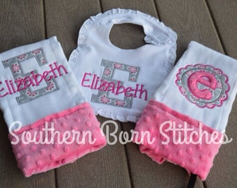 Baby girl applique burp cloth and bib set with minky and personalized with name monogram