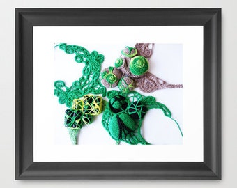 Fine Art Green Romanian Point Lace Photography- Home Décor Print of Romanian Point Lace Necklaces