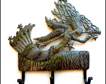 Metal Towel Hook - Angel Wall Hook - Metal Wall Art - Haitian Recycled Steel Drum Wall Decor  - Handcrafted Metal Art of Haiti - 1767-HK