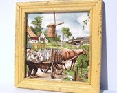 Framed Vintage Tile - Dutch farm windmill - frame painted maize yellow - upcycled shabby cottage chic - modern color palette - rustic style
