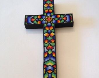 Huichol Style Inspired Beaded Cross 02