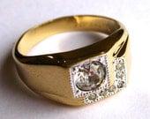 Vintage Ring Gold Filled & Rhinestone Flashy Mens Ring size 12.5