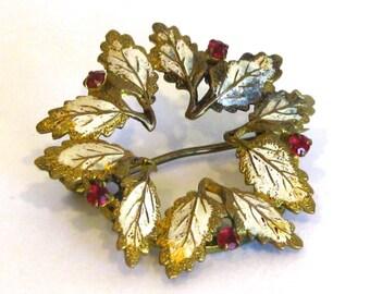 Vintage 50s Gold Enamel & Red Rhinestone Leaf Holiday Wreath Brooch Pin