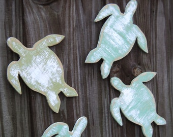 5 Beach-y Sea Turtles, Coastal Living, Nautical Wall Decor, YOU CHOOSE COLORS