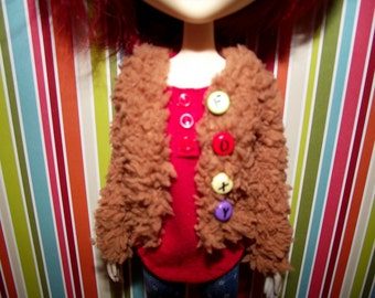 Light brown with FOXY buttons fuzzy fluffy cardigan sweater for Pullip