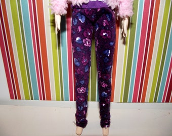 Dark purple with flowers skinny pants for pullip