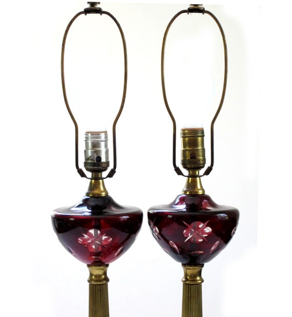 Bohemian Ruby Red Glass Cut To Clear Crystal Table Lamps Pair