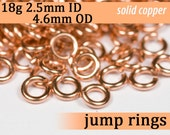 18g 2.5 mm ID 4.6 mm OD copper jump rings -- 18g2.50 open jumprings links jewelry supplies findings