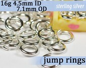 16g 4.5mm ID 7.1mm OD sterling silver -- .925 jump rings 16g4.50 open jumprings jewelry supplies findings links