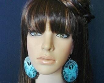 Torquoise Blue Crochet Earrings-Crochet Brown Butterfly Earrings-Crochet Earrings