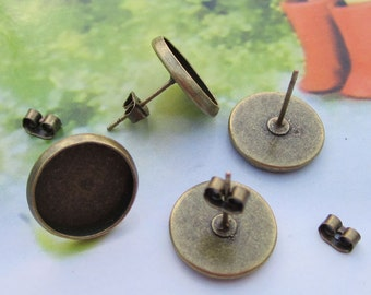 50pc(25 pairs) Earring posts, Antique Brass Earring studs back stoppers earnuts with 12mm Round Pads,antique bronze Cameo Base Setting