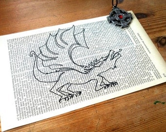 White Dragon Illustration Print on Antique 1896 Dictionary Book Page
