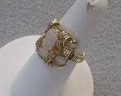 Shell Cameo and 14k Gold Filled Wire Ring