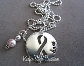 Breast Cancer RIbbon Hand Stamped cut out necklace