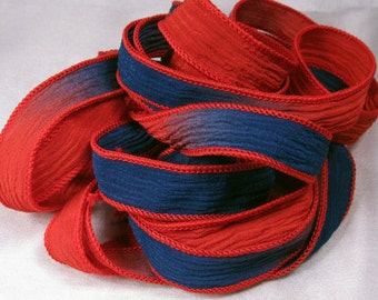Hand Dyed Silk Ribbons - Crinkle Silk Ribbons - Silk Jewlery Ribbon Bracelet wrisp wrap - Quintessence - Red and Navy