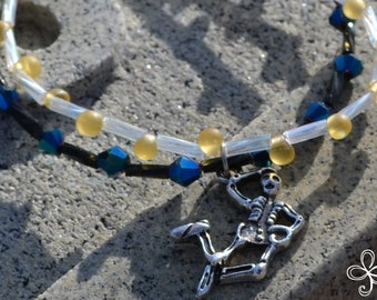Double Strand Dancing Skeleton Charm Bracelet