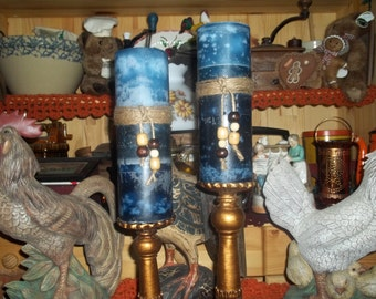 "PILLAR CANDLE - Highly Scented Triple Layered Variegated Pillar Candles 3""x9"" - Your Choice of Colors and Fragrance"