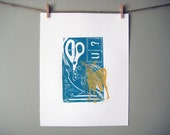 Original hand pulled linocut Deer With Scissors Teal and Gold