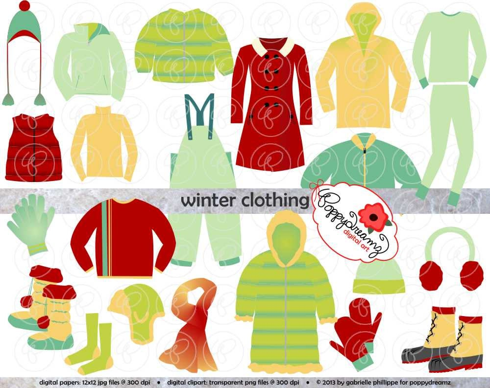 Winter Clothing Clipart Set: Digital Scrapbook Clip by ...