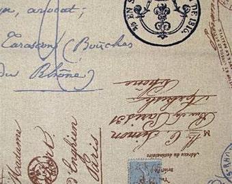Home Decor Fabric Yardage French Postale Script Indigo