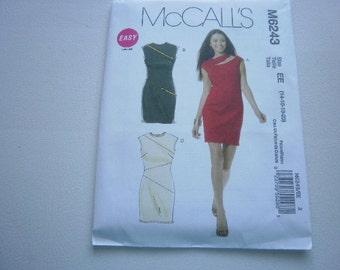 Pattern Ladies Dress 3 Styles Sizes 14 to 20 OOP Mccalls 6243