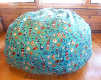 Blue Race Car Accessories Bean Bag Chair Cover