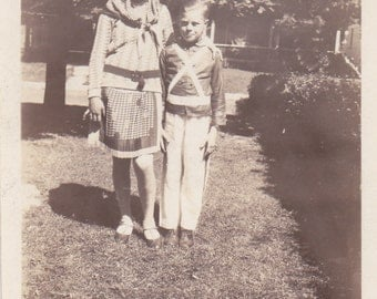 Boy and Girl - Vintage Photograph, Vernacular, Found Photo  (ZZZ)