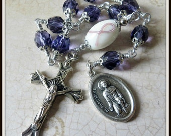 St. Peregrine Rosary for Cancer Caregiver Support, Plum Ribbon Awareness Rosary