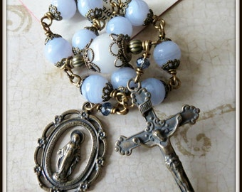 Miraculous Single Decade Pocket Rosary in Blue Lace Agate, Wire Wrapped Rosary in Bronze