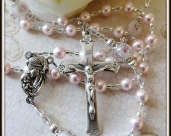 Girl's Catholic Baptism Rosary, Pink Swarovski Pearl & Lampwork Rosary, Christening/Baptism Gift