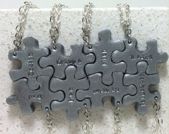 Puzzle Pieces Personalized 8 Necklaces or Key chains Silver Polymer clay Made to order