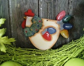 Hand Painted Christmas Rooster Ornament