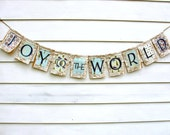 Christmas JOY To The WORLD Burlap Banner Garland with Lace, Rustic Vintage Style in Blue