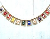 Noah's Ark Birthday TWO BY TWO Banner, Party Decoration, Twin Baby Shower, 2nd Birthday