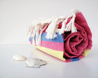 2 Cotton Towels, Peshtemals,Natural COTTON,High Quality Handwoven Turkish Bath,Beach,Spa,Yoga,Pool Towel