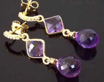 Shiny yellow gold and purple Amethyst teardrop earrings