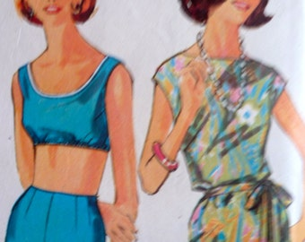 60s Bathing Suit Beachwear Pattern Overblouse Bra Shorts Size 12 Simplicity 4995 Size 12