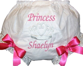 Personalized Hot Pink & Silver Princess w/ Crown Bloomers, Diaper Cover,