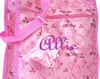 Personalized Light Pink Satin Tote Bag, Ballet, Dance