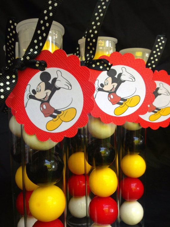 Mickey Mouse or Minnie Mouse Clear gumball tubes for Birthday or any themed party