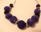 Felt Bead Necklace, Felt Ball Necklace, Purple Polka Dot, Black felt balls