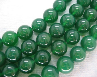 Full Strand Beautiful Green Agate Round Smooth Beads 12mm