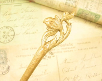 Handmade Wooden Hair Stick - Peach Blossom