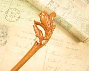 Wooden Hair Sticks Peach Wood - Magnolia Flower