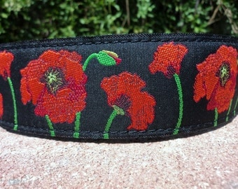 "Sale Large Dog Collar Poppy 1.5"" wide Quick Release buckle adjustable -  No Martingale limited ribbon - see 1"" Poppy links within"