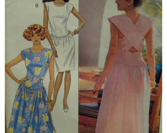 Fitted Bodice Sundress Pattern, Shaped Low Waist, Cross Over Back, Straight or Flared Skirt, Butterick No. 4083 UNCUT Size 12 14 16