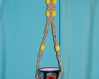Short Hemp Macrame Plant Hanger with Vintage Yellow Beads 32 inches total length Handmade by FunkyJunky Light Duty Macrame Air Plant Hanger