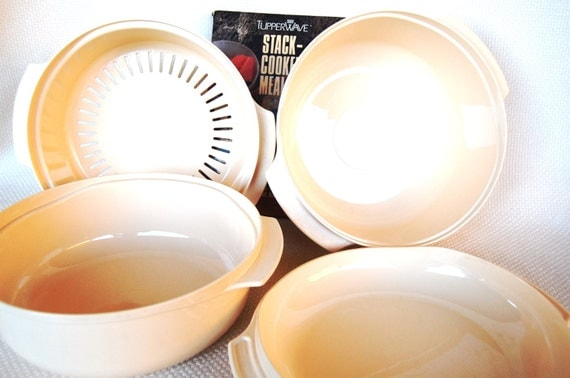 RESERVED  Vintage Tupperware TupperWave Stack Cooker with Cookbook 5 Pieces ca 1990 includes Colander Steamer